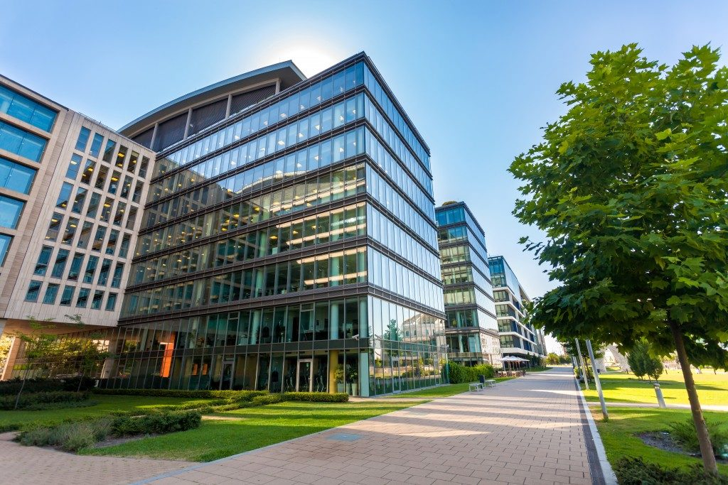 office building with outdoor landscape