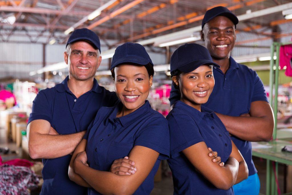 wearing their work uniform