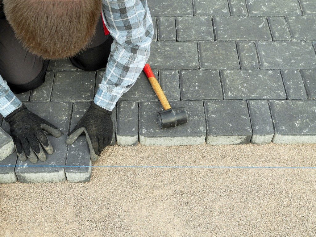 pavement blocks on driveway