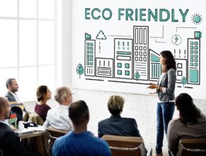 business meeting talking about eco-friendly business operations
