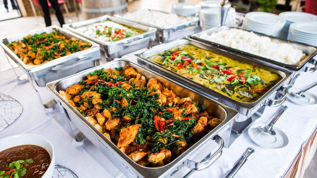 catered food at a buffet
