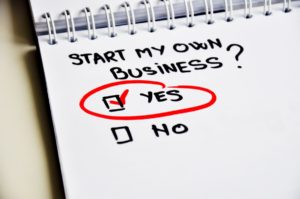 start my own business written on notepad with yes encircled and checked