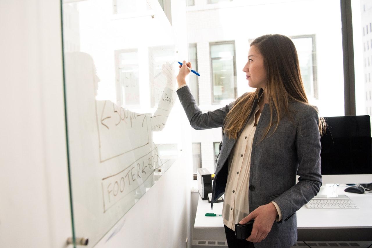 teacher writing on a whiteboard