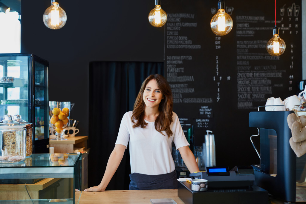 a business owner smiling