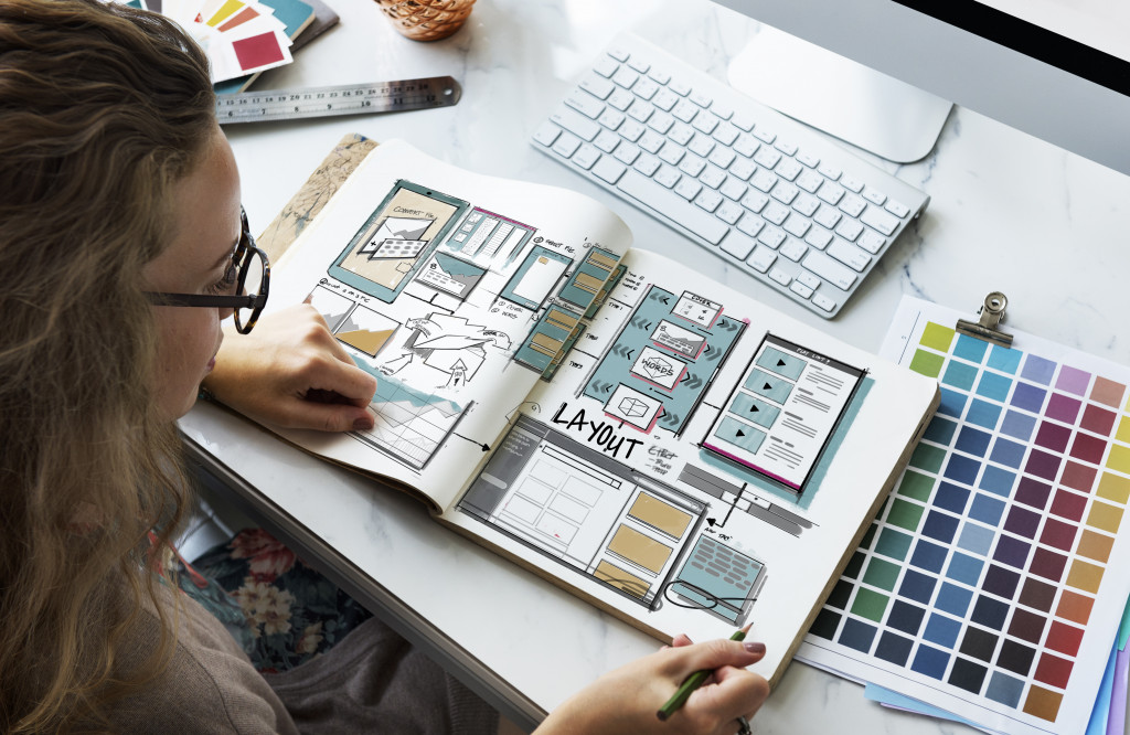 woman designing a website